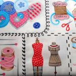 SEW VINTAGE  101 PANEL : NOVELTY PRINTS : Cream : NUTEX : 100% Cotton : FABRICS
