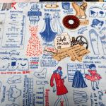 SEW VINTAGE  103 LAYOUT : NOVELTY PRINTS : Blue : NUTEX : 100% Cotton : FABRICS