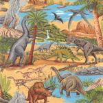 LOST WORLD SCENIC : NOVELTY PRINTS : Multi : NUTEX : 100% Cotton : FABRICS
