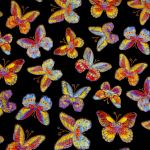 Glimmer Butterfly : INSECTS AND BUGS : Black : Timeless Treasurers : 100% Cotton : FABRICS