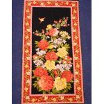 Lotus Flower Panel : ORIENTAL  (Japanese, Asian etc) : Black : Timeless Treasurers : 100% Cotton : FABRICS
