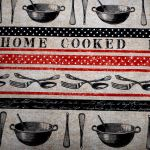 Home Cooked : KITCHEN and Utensils (household) : Black : Michael Miller : 100% Cotton : FABRICS