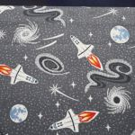 Dark Grey Rockets : Light Years Range (  Male  ) : Grey : Lewis and Irene Threaded with love : 100% Cotton : FABRICS