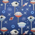 Dark Blue Space City : Light Years Range (  Male  ) : Navy Blue : Lewis and Irene Threaded with love : 100% Cotton : FABRICS