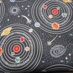 Dark Grey Planets : Light Years Range (  Male  ) : Black : Lewis and Irene Threaded with love : 100% Cotton : FABRICS