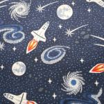 Navy Blue Rockets : Light Years Range (  Male  ) : Navy Blue : Lewis and Irene Threaded with love : 100% Cotton : FABRICS