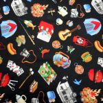 Camping : NOVELTY PRINTS : Black : Timeless Treasurers : 100% Cotton : FABRICS