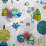Owls 3 : NOVELTY PRINTS : White : Jo Ann : 100% Cotton : FABRICS