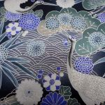 Cranes and Chrysanthemum : ORIENTAL  (Japanese, Asian etc) : Blue : NUTEX : 100% Cotton : FABRICS