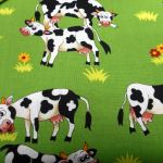 Farm Fun Cows : NOVELTY PRINTS : Green : NUTEX : 100% Cotton : FABRICS
