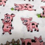 Farm Fun Pigs : NOVELTY PRINTS : Cream : NUTEX : 100% Cotton : FABRICS