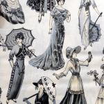Victorian Ladies : NOVELTY PRINTS : Cream : NUTEX : 100% Cotton : FABRICS