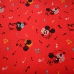 MICKY AND MINNIE : NOVELTY PRINTS : Red : NUTEX : 100% Cotton : FABRICS